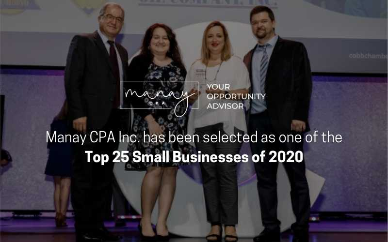 Manay CPA Inc. has been selected as one of the Top 25 Small Businesses of 2020